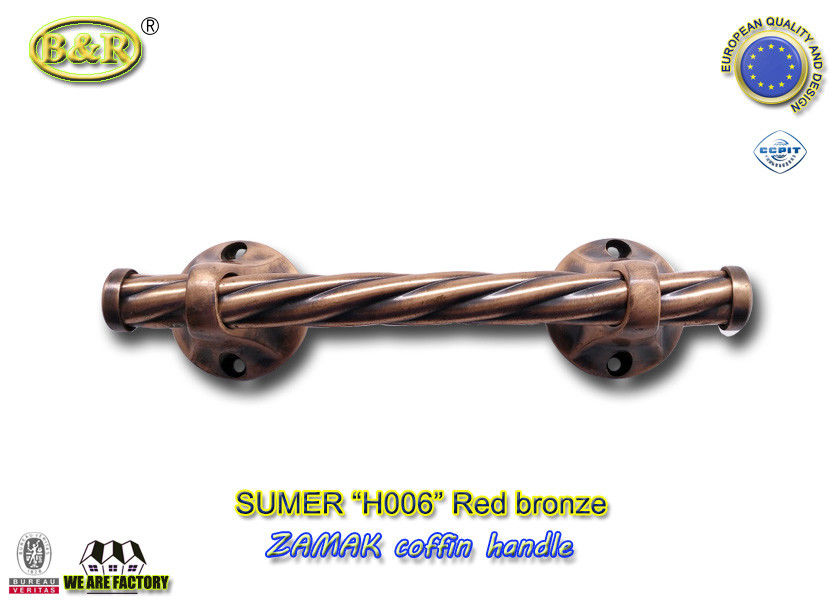 Polished Zamak Metal Coffin Handles H006 red bronze color Size 25.5 x 6.5 cm