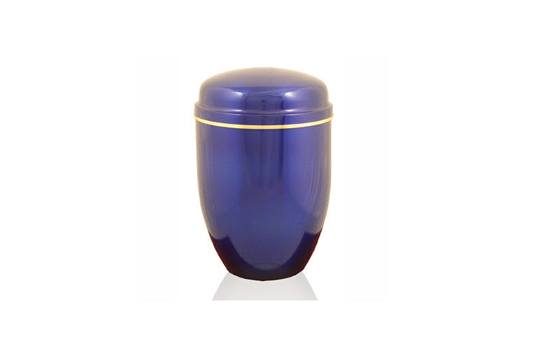 Steel funeral urns for human ashes shining blue color H 24.8cm Dia 16.5cm